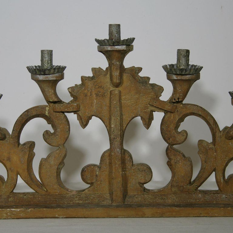 Late 18th Century Italian Carved Giltwood Baroque Candleholder For Sale 5