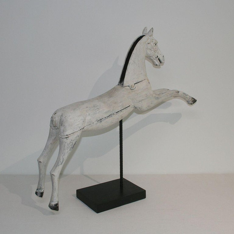 19th Century French Wooden Horse with Cast Iron Head For Sale 2