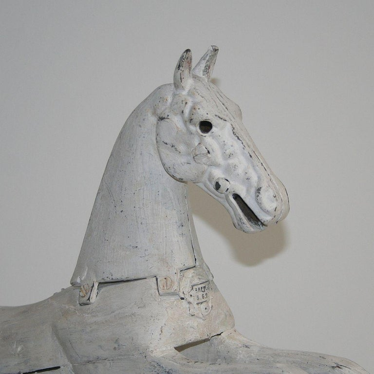 19th Century French Wooden Horse with Cast Iron Head For Sale 7