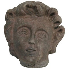 French Sandstone 18th Century Baroque Angel Head