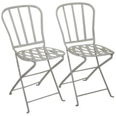 Pair of French 19th Century Iron Folding Bistro Chairs