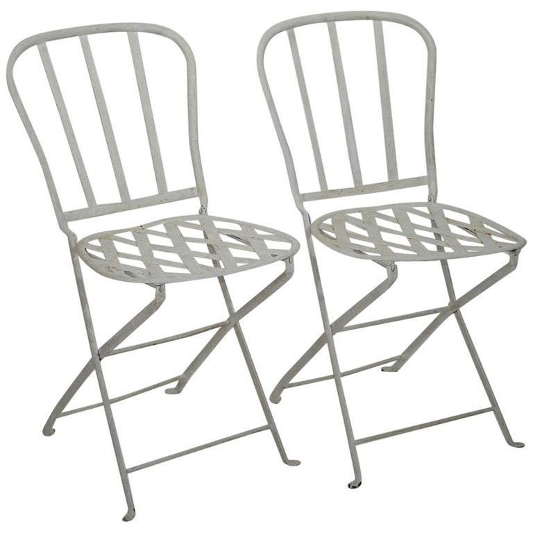 Pair Of French 19th Century Iron Folding Bistro Chairs For
