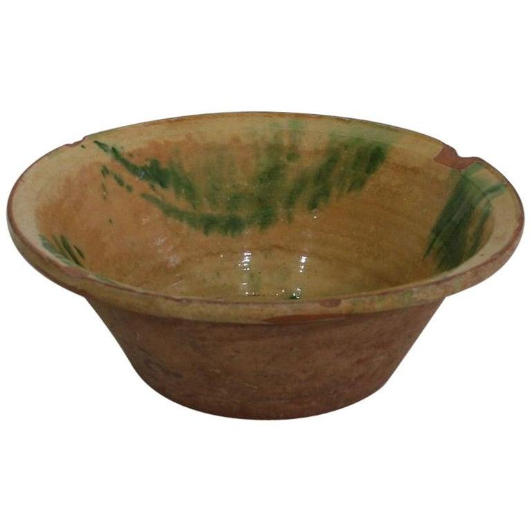 19th Century Spanish Glazed Terracotta Bowl For Sale