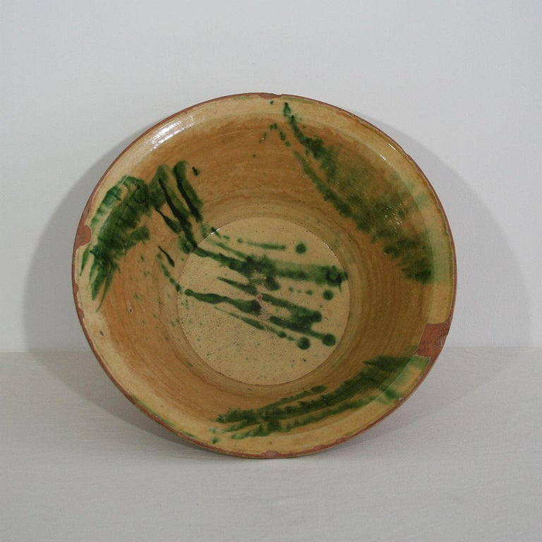 Fabulous antique Spanish bowl handmade from terracotta with a distinctive glaze. Perfect for as a fruit bowl, as the perfect centerpiece with a bouquet of flowers, or alone as an awesome Country accent.