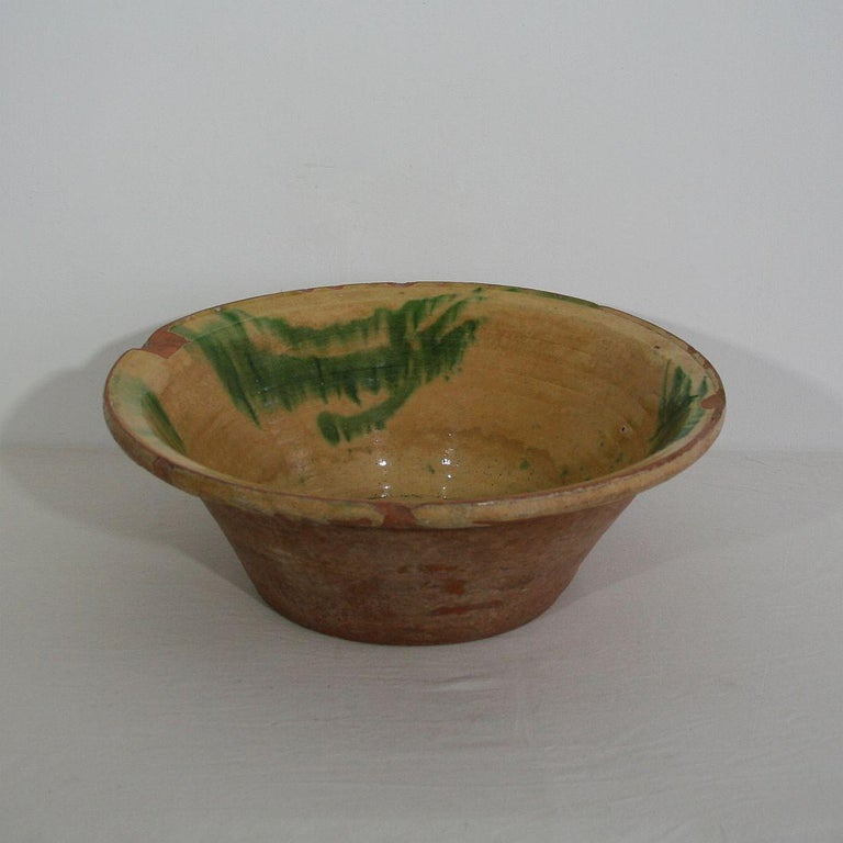 Country 19th Century Spanish Glazed Terracotta Bowl For Sale