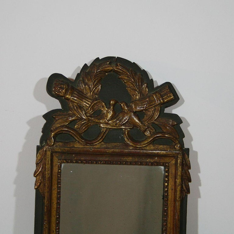 Hand-Carved Small 19th Century, French, Louis XVI Style Bridal Mirror For Sale