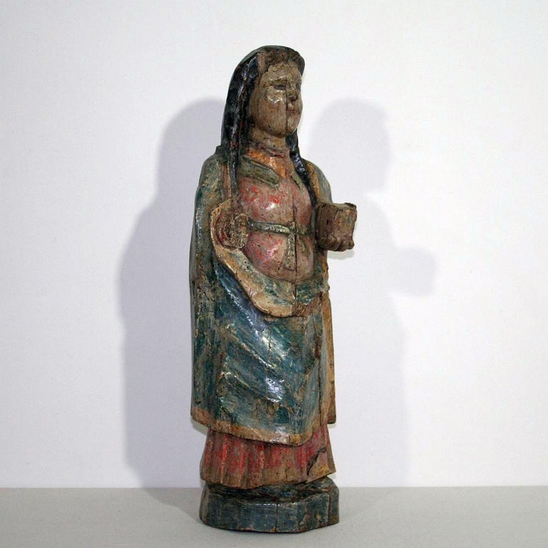 Hand-Carved French Medieval Painted Wooden Madonna For Sale