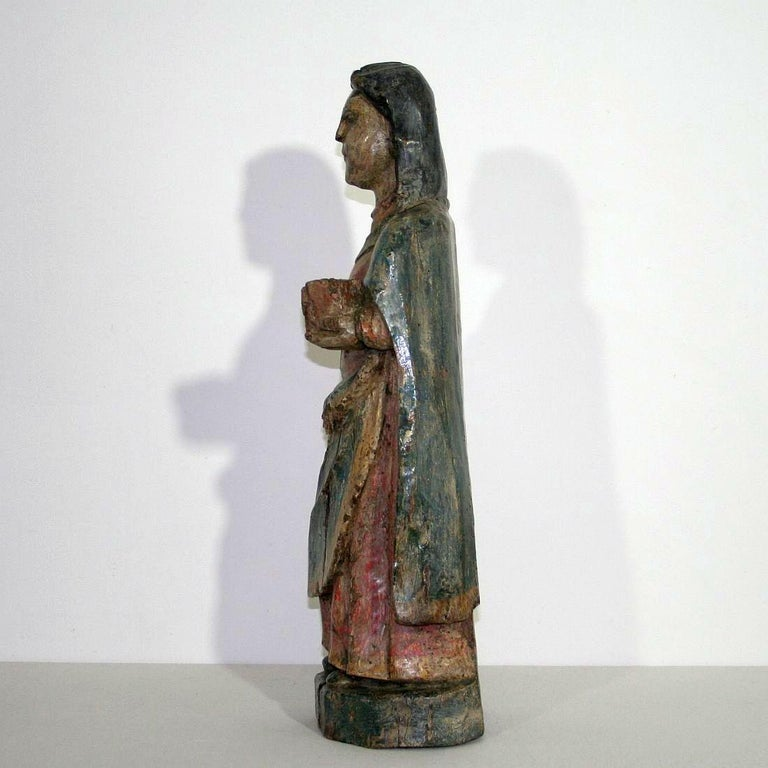 French Medieval Painted Wooden Madonna For Sale 1