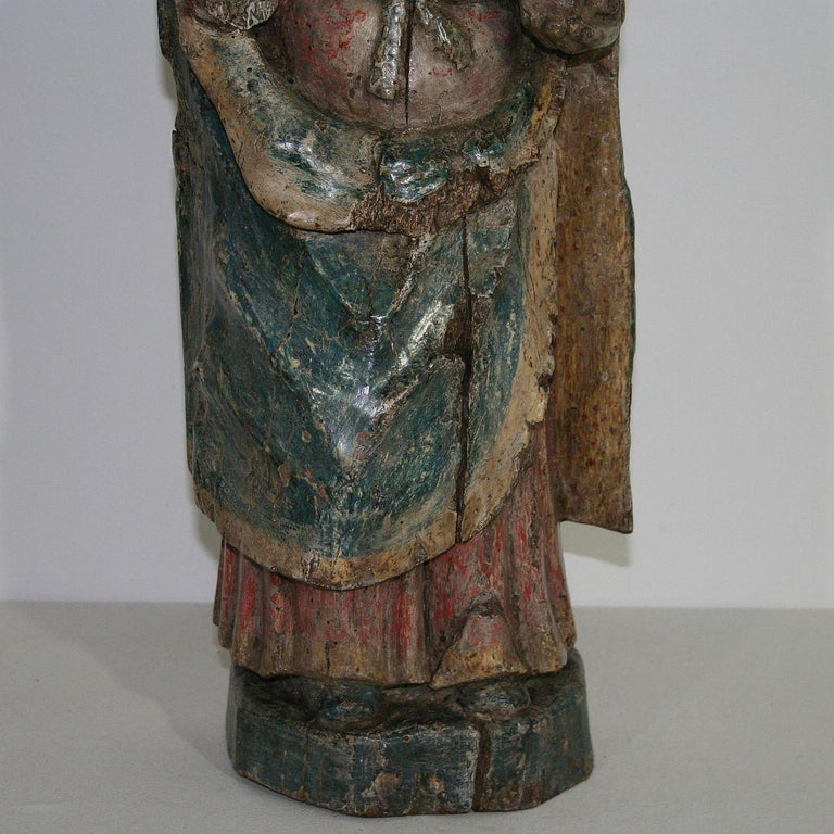 French Medieval Painted Wooden Madonna For Sale 3