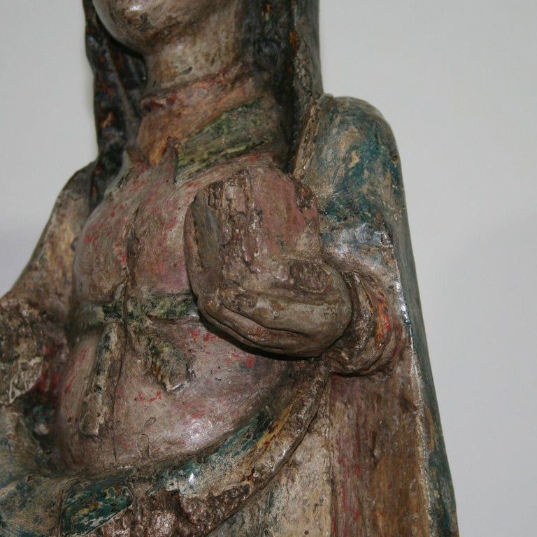 French Medieval Painted Wooden Madonna For Sale 9