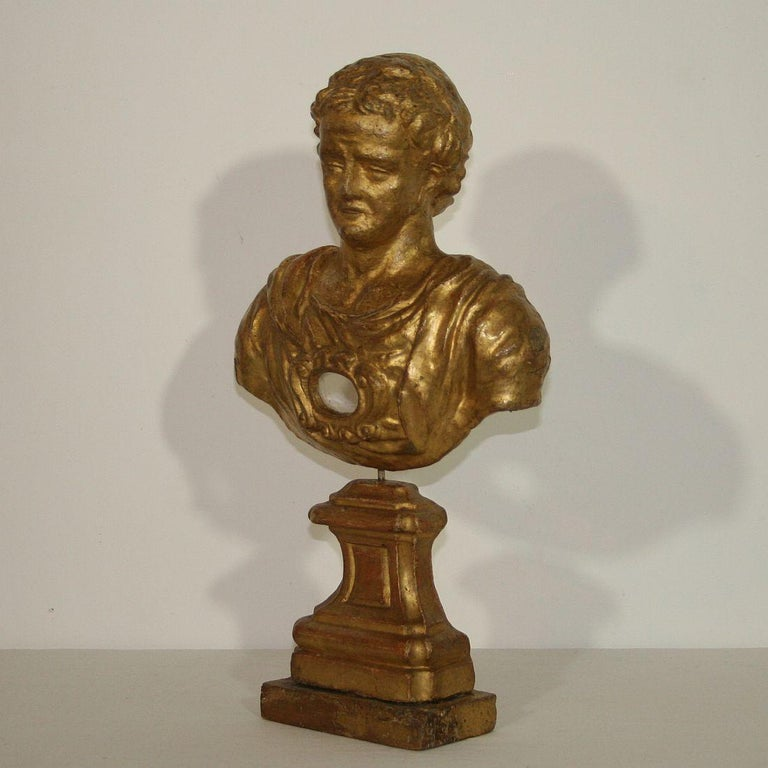 Unique gilded Baroque reliquary bust made out of papier mâché.