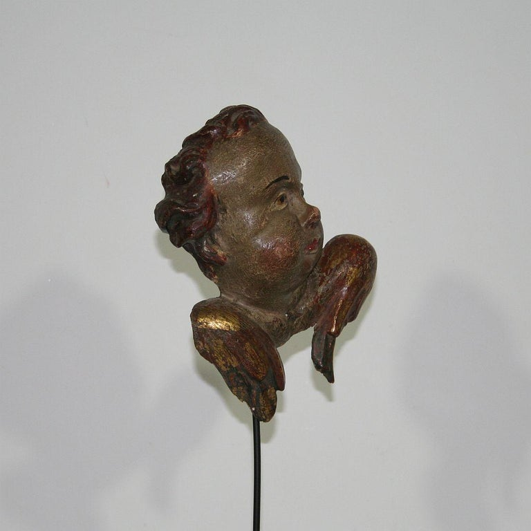 Italian 18th Century Baroque Carved Wooden Angel Head In Good Condition For Sale In Amsterdam, NL