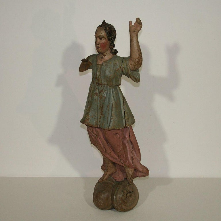 Beautiful Baroque angel figure without its wings. Great old color Italy, circa 1750. Weathered, losses.