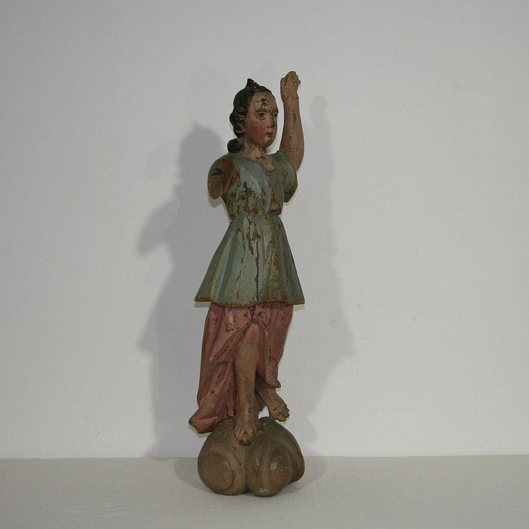 Hand-Carved 18th Century, Italian Baroque Angel Figure For Sale