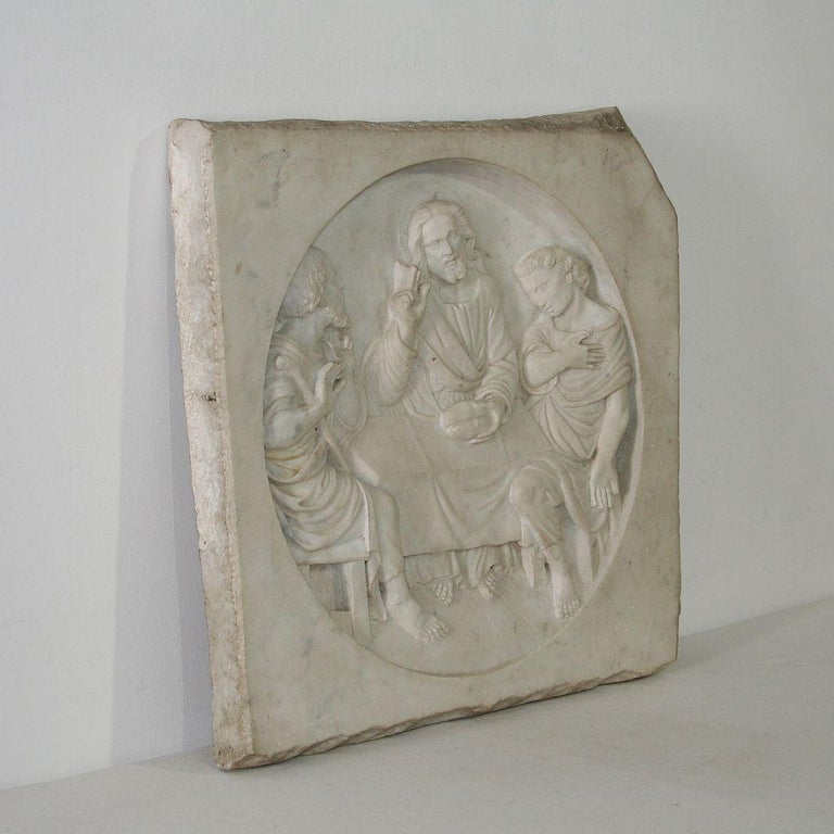 Beautiful white marble classical panel of Christ in a very good condition. Well detailed, Italy, 19th century. Weathered, small losses.
