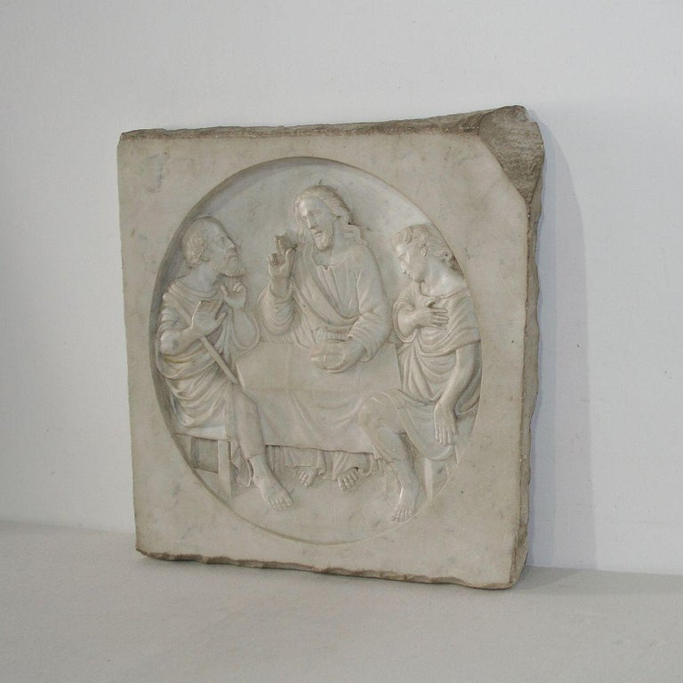 Hand-Carved Italian 19th Century White Marble Classical Panel of Christ For Sale