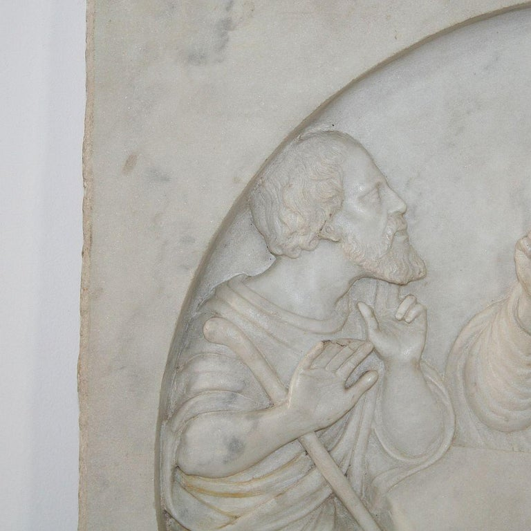 Italian 19th Century White Marble Classical Panel of Christ In Good Condition For Sale In Amsterdam, NL