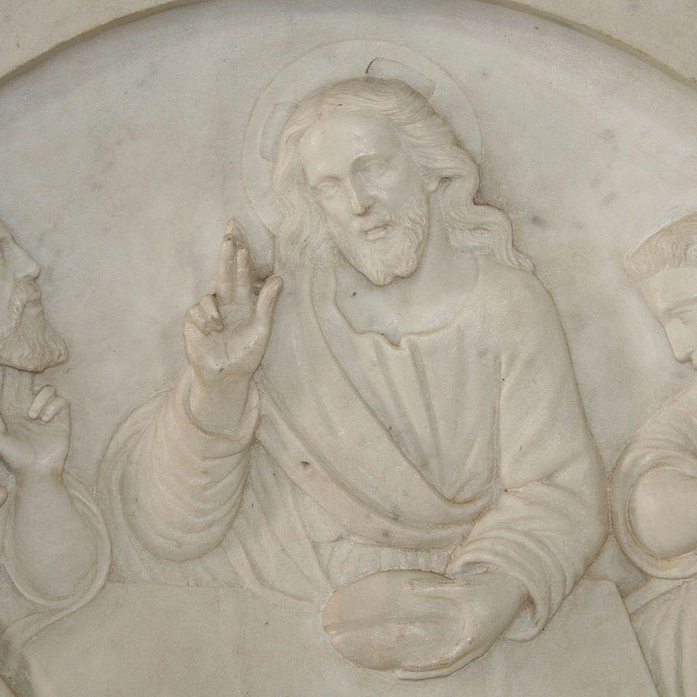 Italian 19th Century White Marble Classical Panel of Christ For Sale 1