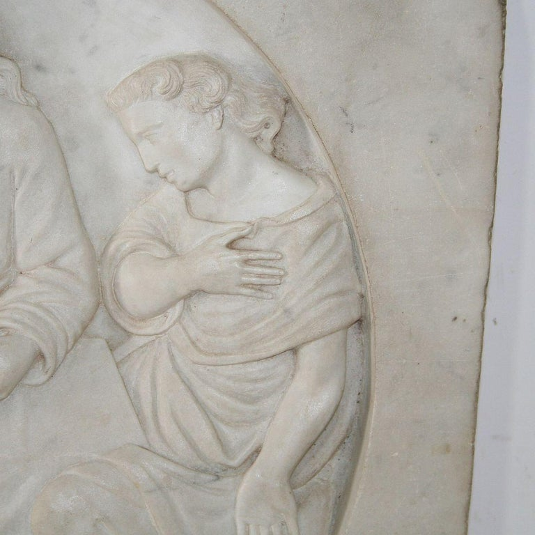 Italian 19th Century White Marble Classical Panel of Christ For Sale 2