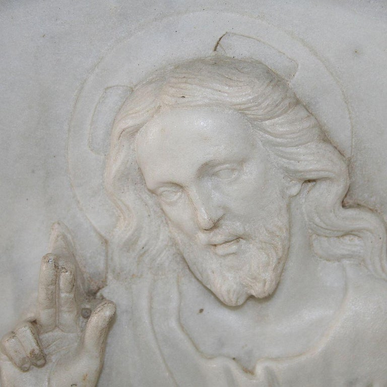 Italian 19th Century White Marble Classical Panel of Christ For Sale 6