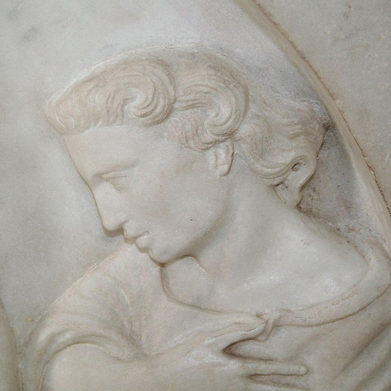 Italian 19th Century White Marble Classical Panel of Christ For Sale 7