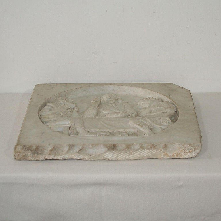 Italian 19th Century White Marble Classical Panel of Christ For Sale 13