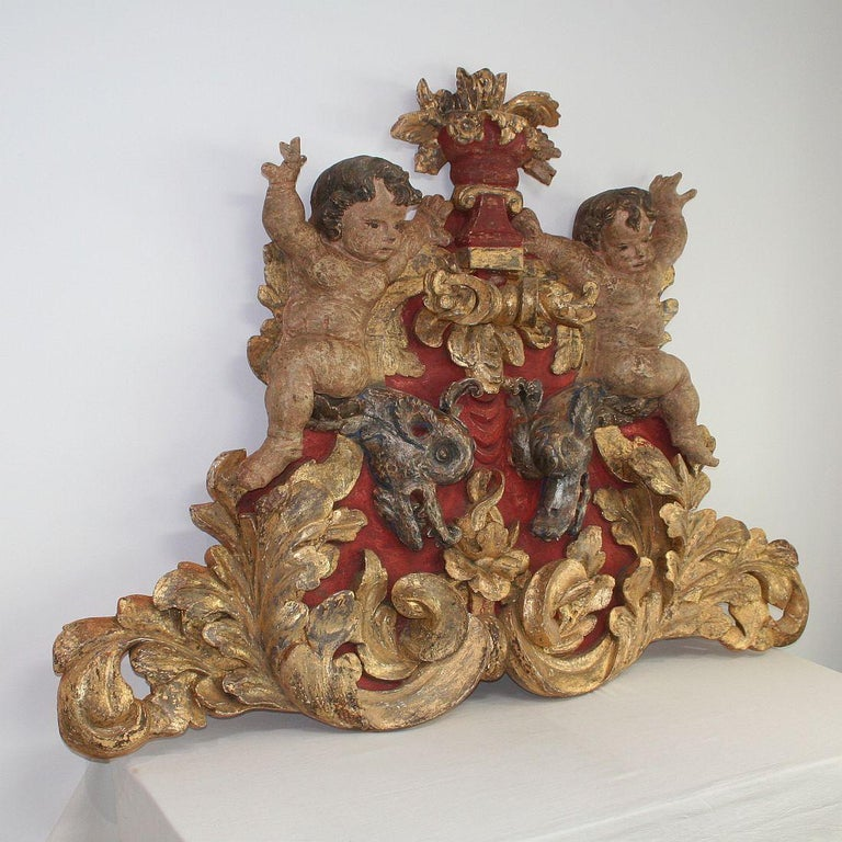 Large Late 18th Century Portuguese Baroque Panel with Angels and Dragons In Good Condition For Sale In Amsterdam, NL