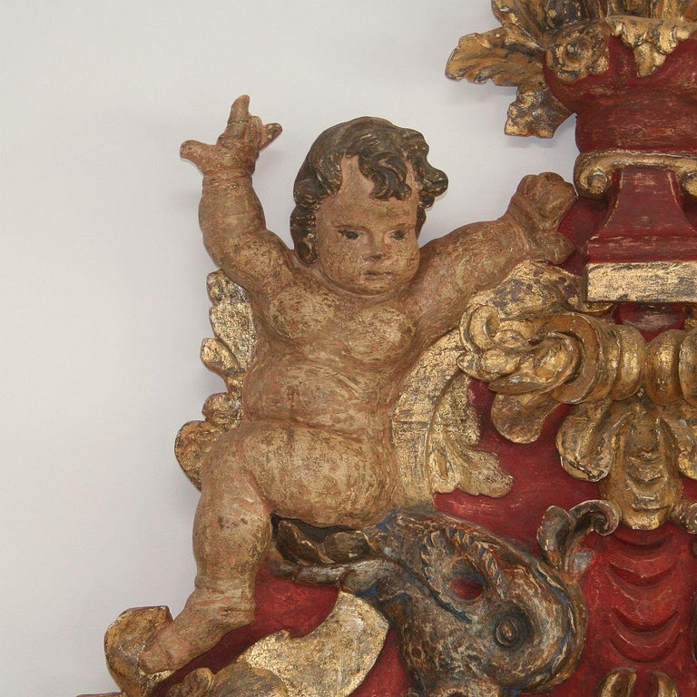 Wood Large Late 18th Century Portuguese Baroque Panel with Angels and Dragons For Sale