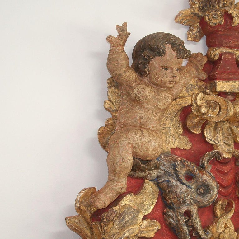 Large Late 18th Century Portuguese Baroque Panel with Angels and Dragons For Sale 1