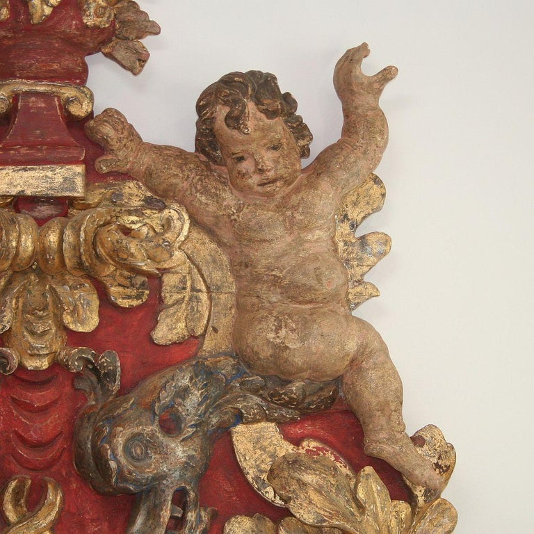 Large Late 18th Century Portuguese Baroque Panel with Angels and Dragons For Sale 3