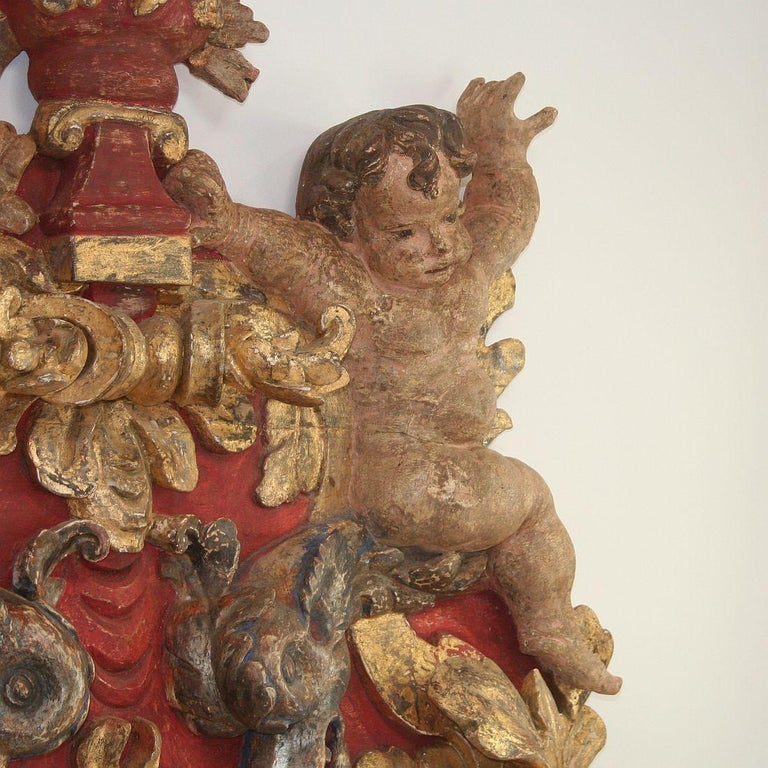 Large Late 18th Century Portuguese Baroque Panel with Angels and Dragons For Sale 4