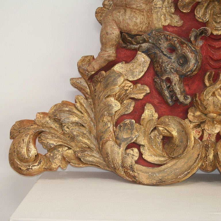 Large Late 18th Century Portuguese Baroque Panel with Angels and Dragons For Sale 8