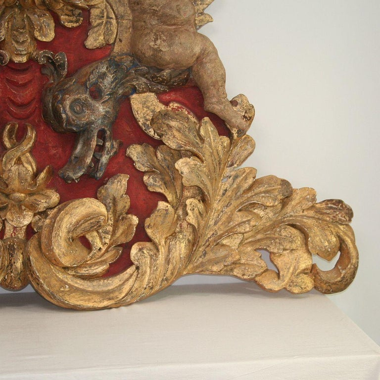 Large Late 18th Century Portuguese Baroque Panel with Angels and Dragons For Sale 9