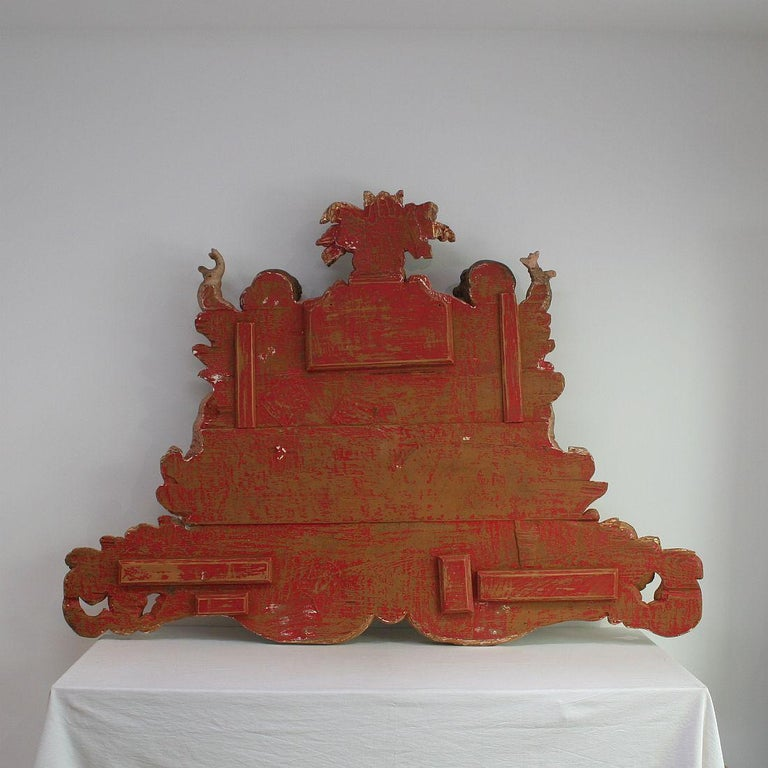 Large Late 18th Century Portuguese Baroque Panel with Angels and Dragons For Sale 11