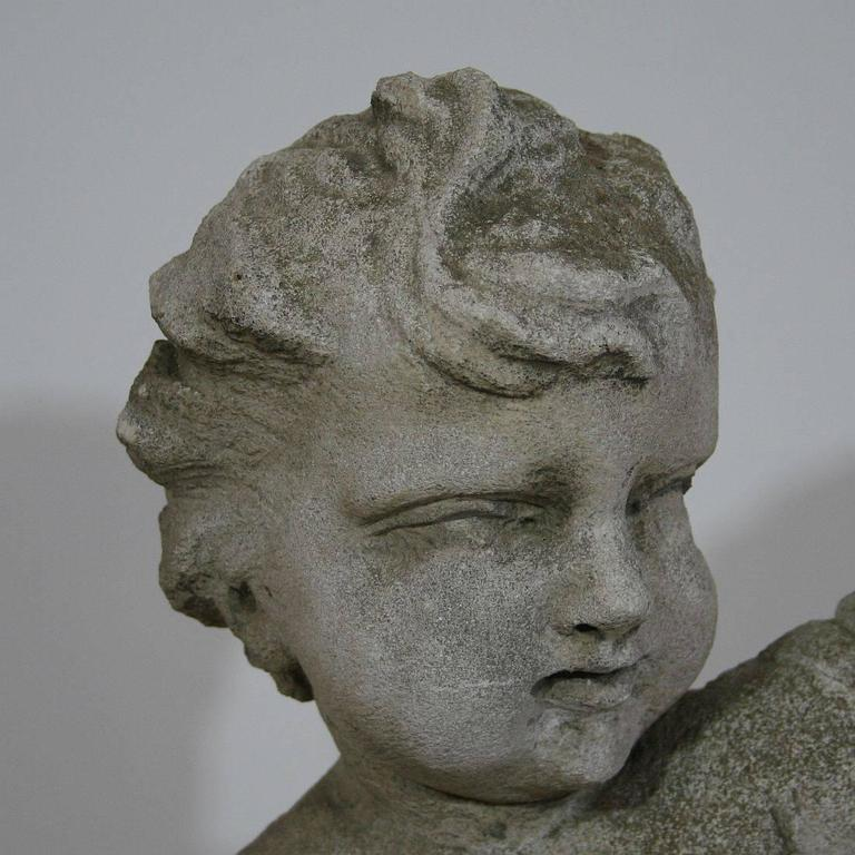 Large th century carved stone italian angel cherub for
