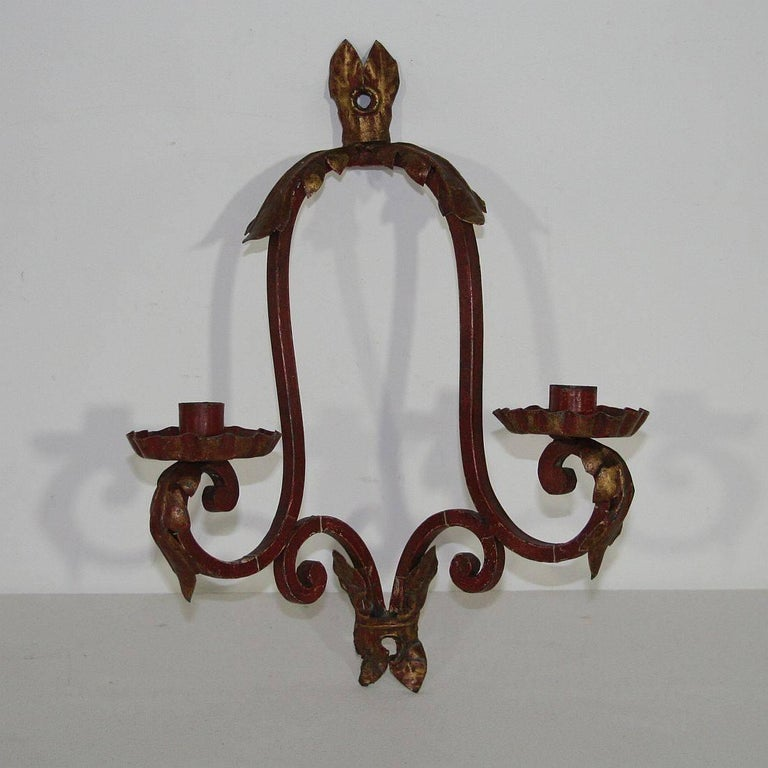 Painting Brass Wall Sconces : Pair of Italian 19th Century, Painted Metal Wall Sconces For Sale at 1stdibs