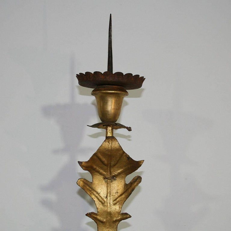 Large Italian 18th Century Gilded Iron Baroque Candleholder or Candelabra For Sale 3