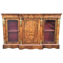 Walnut and Marquetry Credenza, English, circa 1880