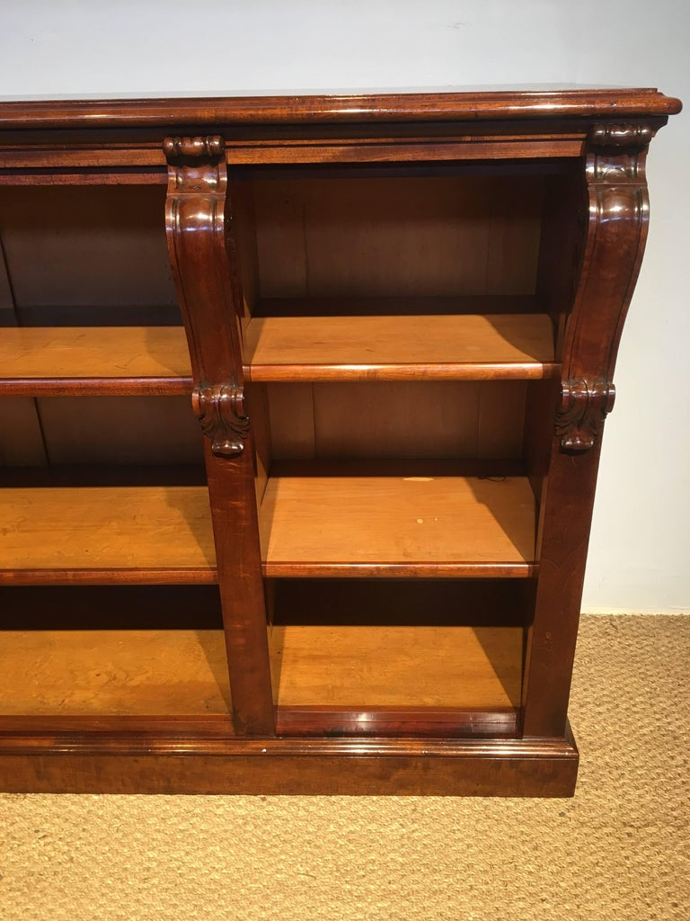 Very good quality mid 19th century mahogany long low bookcase english dating to around the 1850s