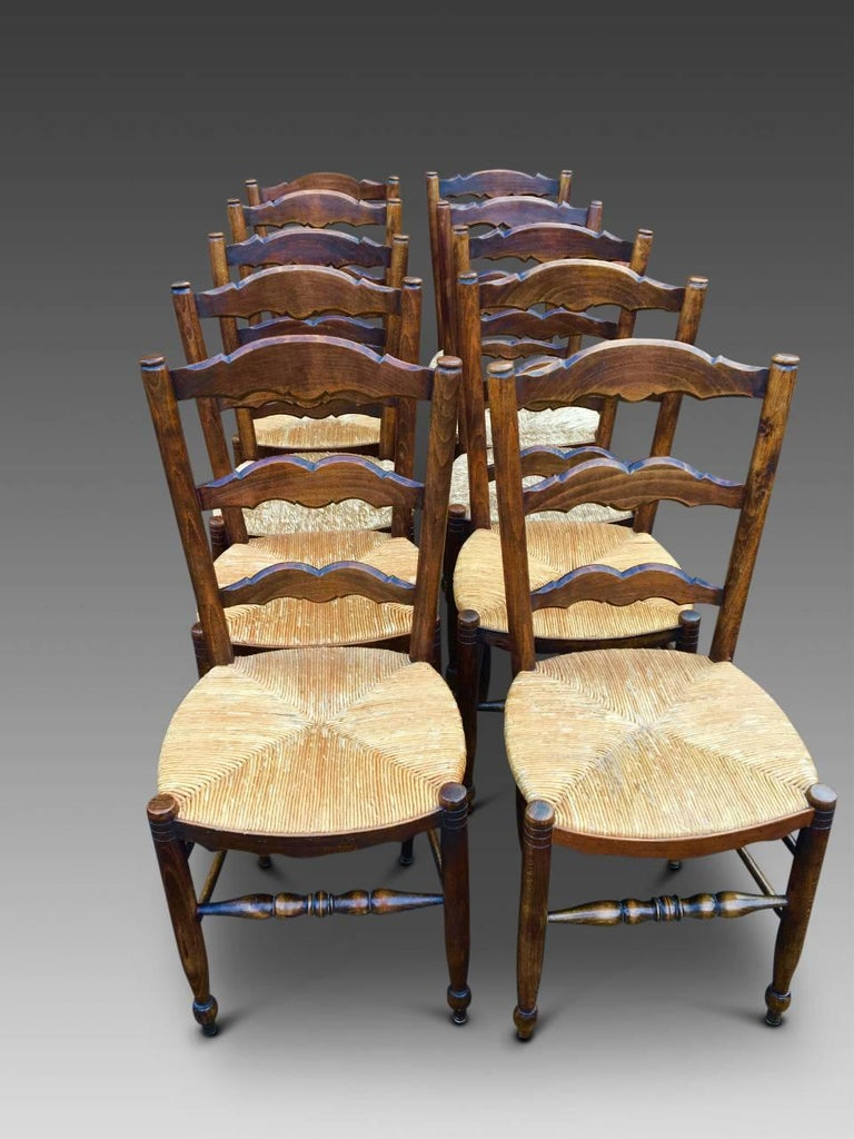 French provincial farmhouse kitchen chairs french set of ten circa 1930 for sale