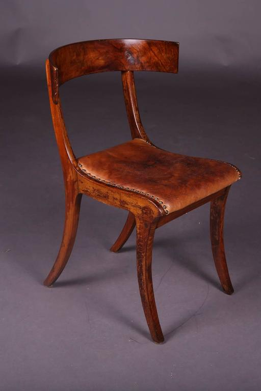 French 19th Century Empire Klismos Saber-Legs Chair For Sale