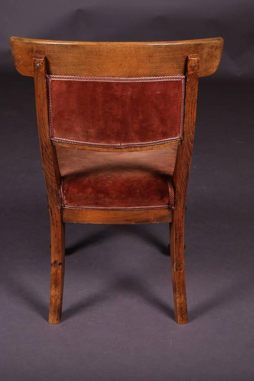 Fabric 19th Century Biedermeier Curving Backrest Chair For Sale