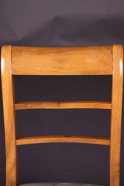 Early 19th Century Three Biedermeier Curved Legs Set of Chairs For Sale 1