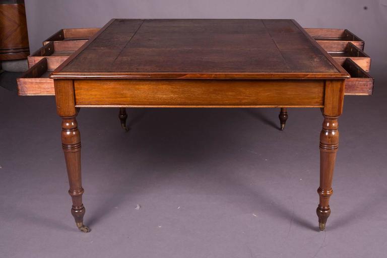 19th Century Victorian English Partner Desk Column Shaped Legs Writing Table  3 - 19th Century Victorian English Partner Desk Column Shaped Legs