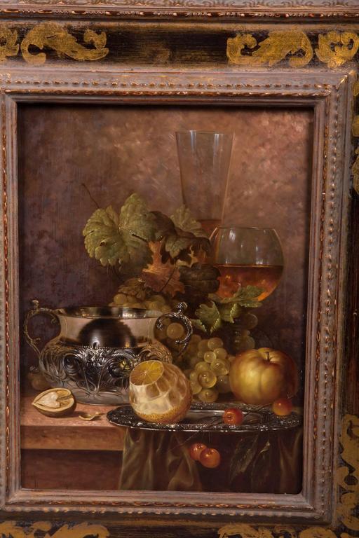 20th Century Renaissance Still Life Oil On Wooden Plate