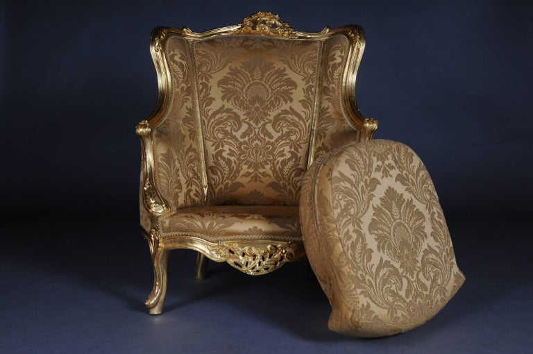 French 20th Century Louis XV Quinze Bergère Chair, Lounge For Sale