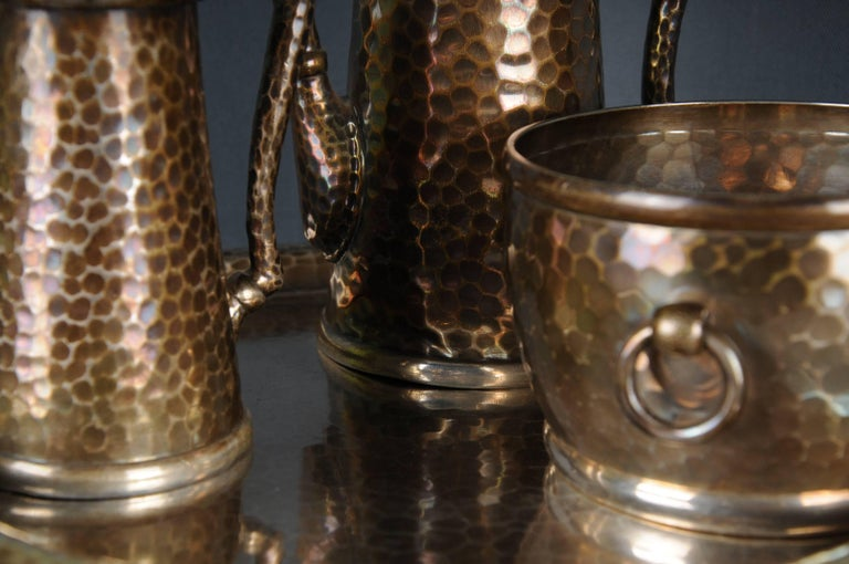 Extremely rare Tiffany & Co. demitasse set in sterling silver, Art Deco, circa 1907-1937.  The set consists of four pieces. Jug, cream jug, sugar bowl and tray.  All pieces are punctured  Extremely filigree and high quality.  Some