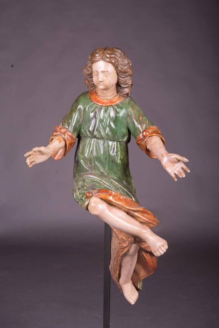 German 18th Century Baroque Oak Pair of Couple Baroque Figures For Sale
