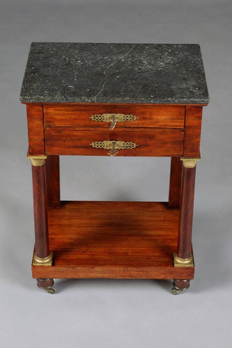 French 19th Century Empire Commode, Nightstand or Sewing Table For Sale