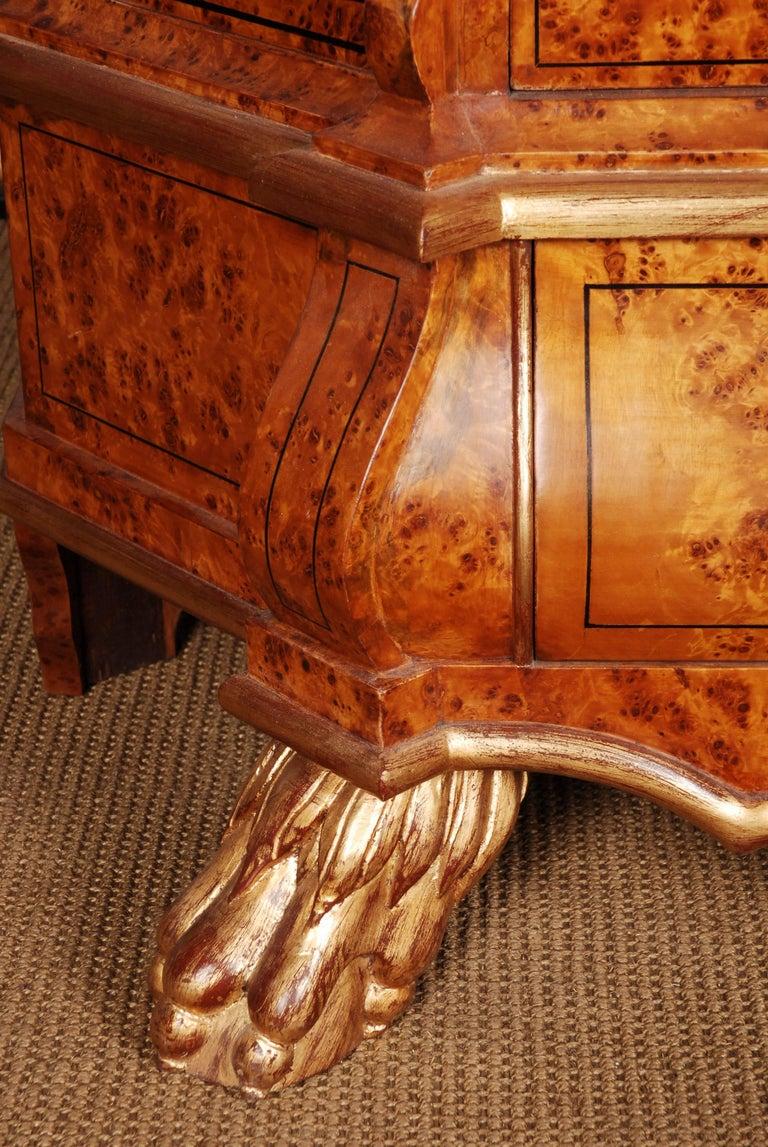 Pine 20th Century Baroque Style Dutch Vitrine Cupboard For Sale